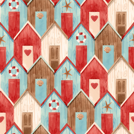 Illustration pour Beautiful vector seamless pattern with hand drawn watercolor houses - image libre de droit