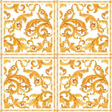 Illustration pour Watercolor vector golden baroque pattern rococo ornament rich luxury print - image libre de droit