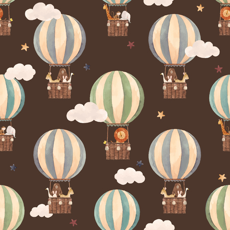 Illustration pour Beautiful vector seamless pattern with watercolor air baloons with cute animals - image libre de droit