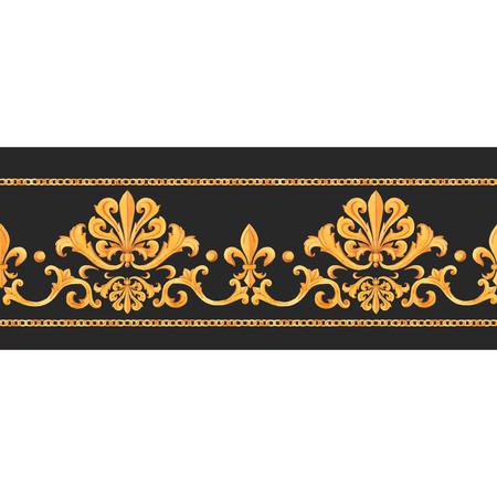 Ilustración de Watercolor vector golden baroque pattern rococo ornament rich luxury print - Imagen libre de derechos