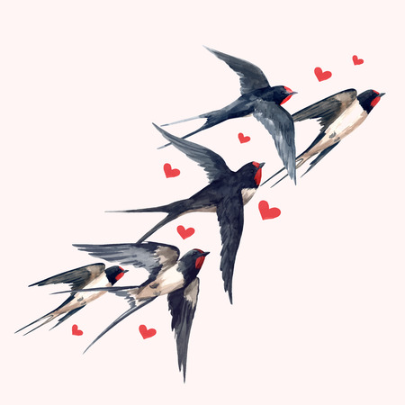 Illustration pour Beautiful vector composition with hand drawn watercolor swallow birds - image libre de droit