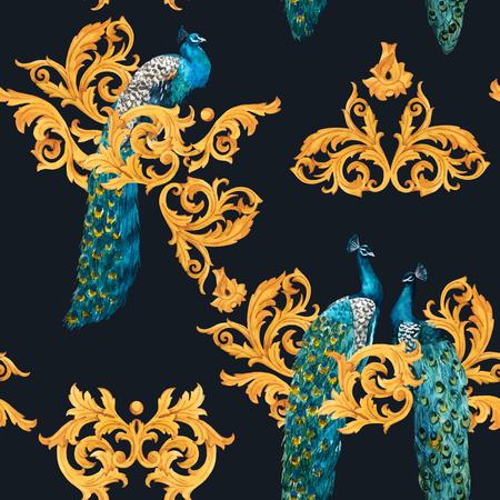 Ilustración de Beautiful vector seamless pattern with hand drawn watercolor peacocks with gold elements - Imagen libre de derechos