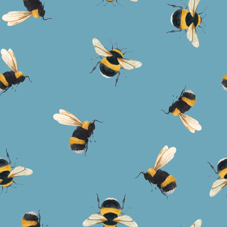 Illustration pour Beautiful vector seamless pattern with watercolor bumblebee bee wasp insect - image libre de droit