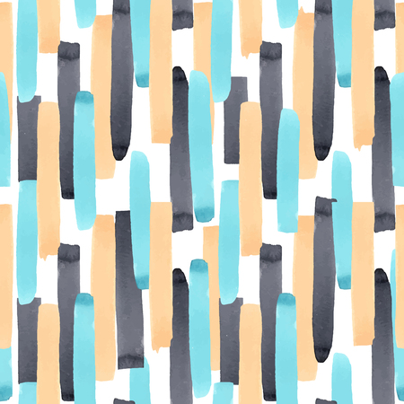 Illustration pour Beautiful vector abstract geometric seamless pattern with watercolor stripes - image libre de droit