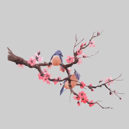 Illustration pour Beautiful vector illustration with watercolor japanese sakura branch - image libre de droit