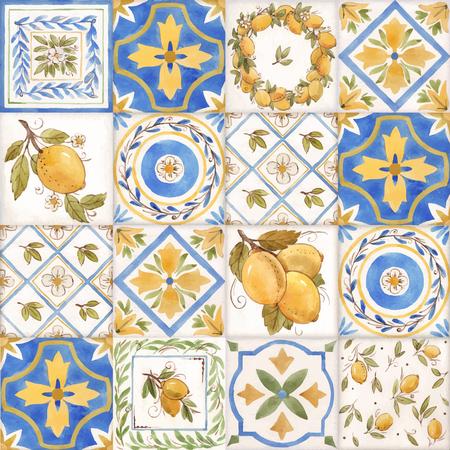 Illustration pour Watercolor vector ornament square summer pattern with Sicily yellow lemons - image libre de droit
