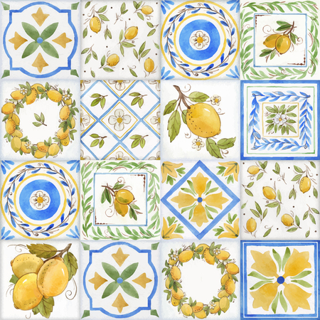 Illustration for Watercolor ornament square vector pattern - Royalty Free Image