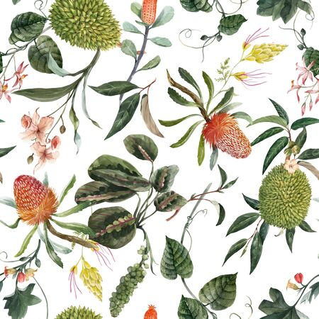 Illustration pour Beautiful vector seamless pattern with watercolor exotic tropical flowers palm tree leaves jungle plants - image libre de droit