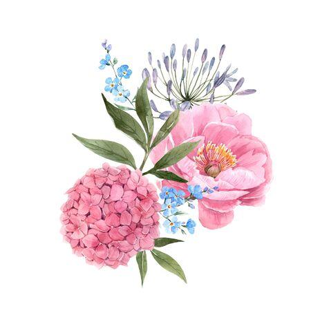 Photo pour Watercolor floral bouquet composition - image libre de droit