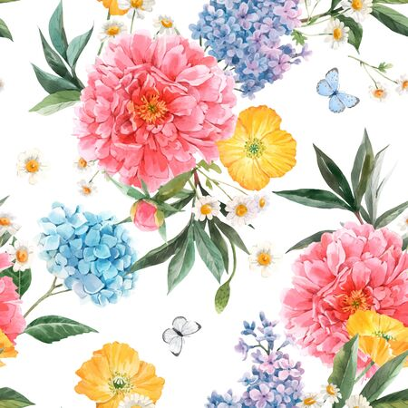 Illustration pour Beautiful vector seamless pattern with watercolor pink peony, blue hydrangea and lilac summer flowers and butterflies. - image libre de droit