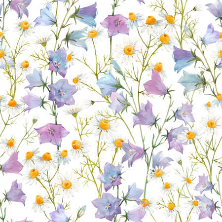 Illustration pour Beautiful vector seamless floral pattern with watercolor gentle summer bluebell and chamomile flowers. Stock illustration. - image libre de droit