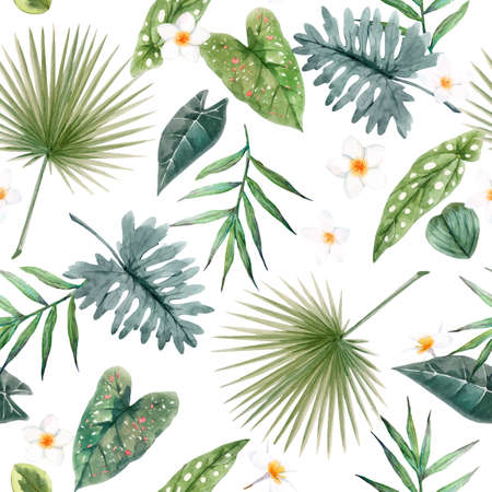 Illustration pour Beautiful vector seamless pattern with watercolor tropical leaves and flowers. Stock illustration - image libre de droit