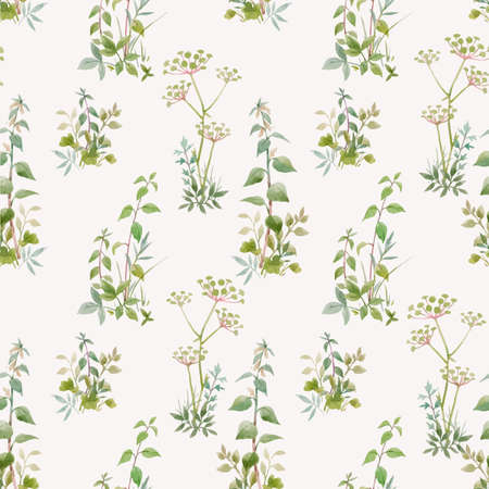 Illustration pour Beautiful vector seamless floral pattern with watercolor forest plants. Stock illustration. - image libre de droit