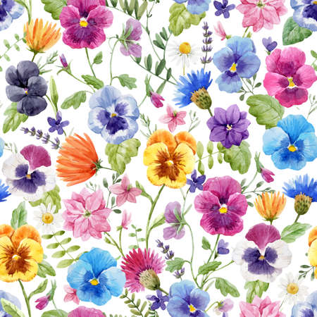 Illustration for Beautiful vector seamless floral pattern with watercolor gentle colorful summer pansy flowers. Stock illustration. - Royalty Free Image