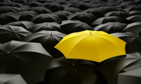 Photo pour 3d rendering of a sea of umbrellas - image libre de droit