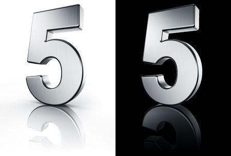 3d rendering of the number 5 in brushed metal on a white and black reflective floor.