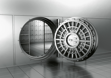 3d rendering of an open bank vault