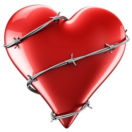 3D rendering of a heart with barbed wire around it.