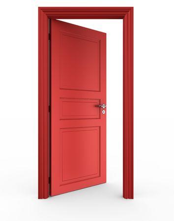 3d rendering of a red open door standing on a white floor