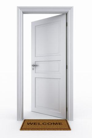 3d rendering of an open door with welcome mat