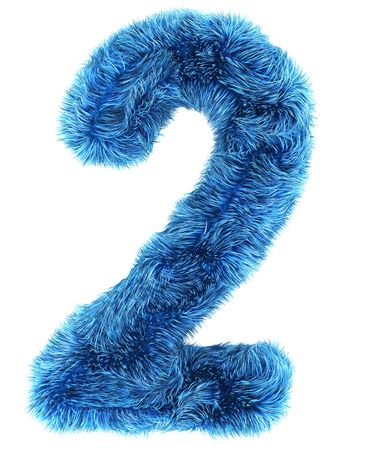 3d rendering of the number 2 in blue fur