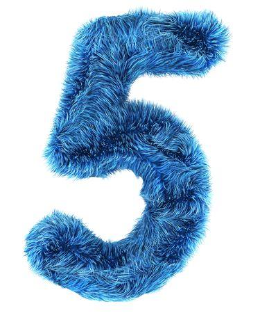 3d rendering of the number 5 in blue fur