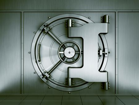 3d renderng of a bank vault seen straight on