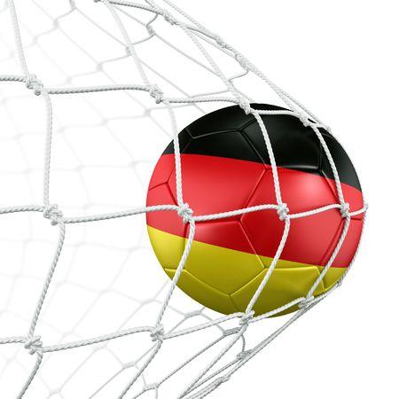 3d rendering of a German soccer ball in a net