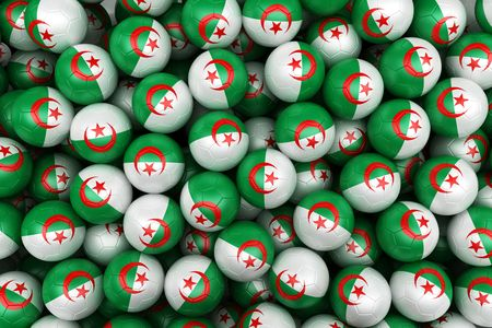 3d rendering of Algerian soccer balls. Perfect for background