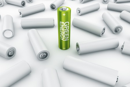 3d rendering of a green battery surrounded by fallen grey batteries