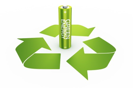 3d rendering of a green battery standing in the middle of a recycle logo