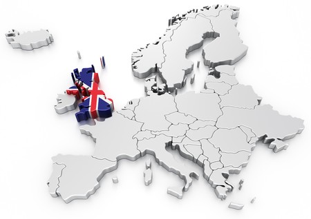 3d rendering of a map of Europe with United kingdom selected