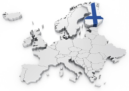 3d rendering of a map of Europe with Finland selected