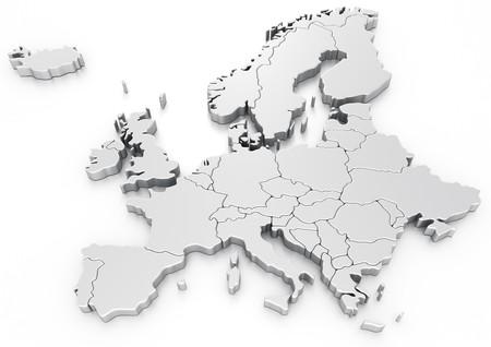 Photo pour 3d rendering of a map of Europe - image libre de droit