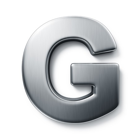 3d rendering of the letter G in brushed metal on a white isolated background.