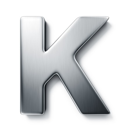 3d rendering of the letter K in brushed metal on a white isolated background.