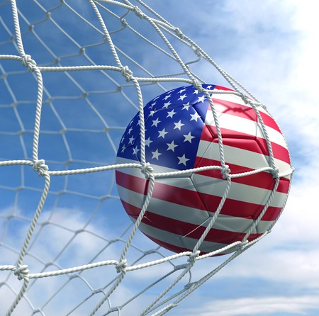 3d rendering of an American soccer ball in a net