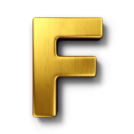 3d rendering of the letter F in gold metal on a white isolated background.