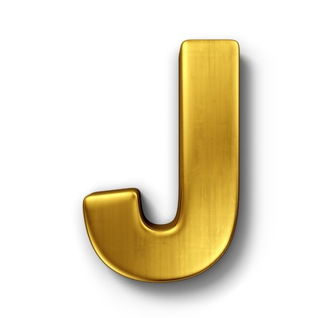 3d rendering of the letter J in gold metal on a white isolated background.