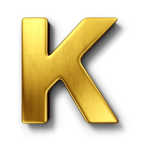 3d rendering of the letter K in gold metal on a white isolated background.
