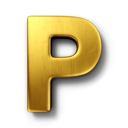 3d rendering of the letter P in gold metal on a white isolated background.