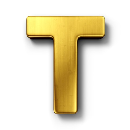 3d rendering of the letter T in gold metal on a white isolated background.