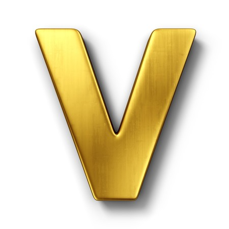 3d rendering of the letter V in gold metal on a white isolated background.