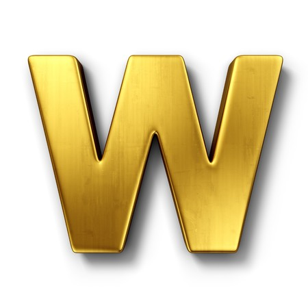 3d rendering of the letter W in gold metal on a white isolated background.