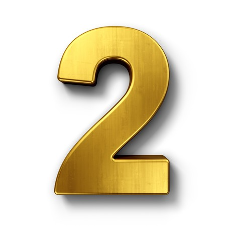 Photo pour 3d rendering of the number 2 in gold metal on a white isolated background. - image libre de droit