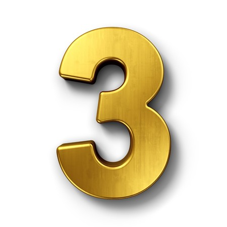 3d rendering of the number 3 in gold metal on a white isolated background.