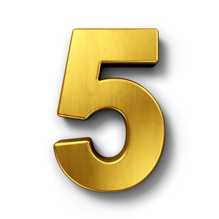 Photo for 3d rendering of the number 5 in gold metal on a white isolated background. - Royalty Free Image