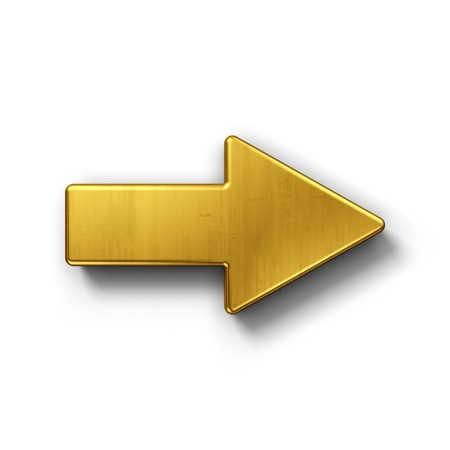 Photo pour 3d rendering of an arrow symbol in gold on a white isolated background. - image libre de droit