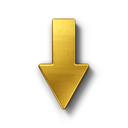 3d rendering of an arrow symbol in gold on a white isolated background.