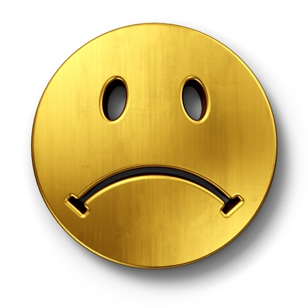 3d rendering of a sad smiley face in gold on a white